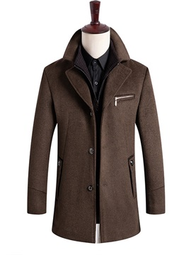Plain Lapel Casual Men's Wool Coat