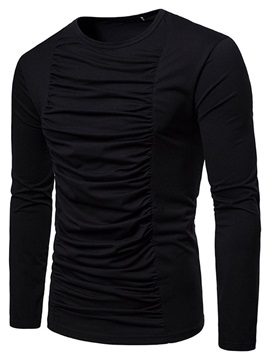 Plain Casual Round Neck Pleated Straight Men's T-shirt