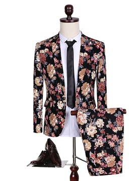 Floral Print Blazer Pants Men's Dress Suit