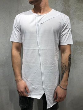 Asymmetric Plain Casual Round Neck Men's T-Shirt