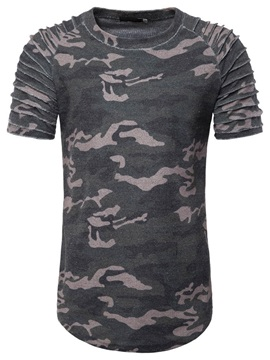 Camouflage Pleated Round Neck Casual Slim Men's T-Shirt