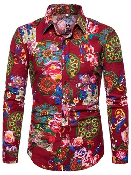 Fashion Floral Print Lapel Single-Breasted Men's Shirt