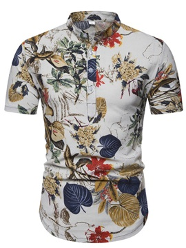 Floral Button Stand Collar Summer Men's Shirt