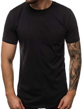 Plain Round Neck Slim Men's T-Shirt