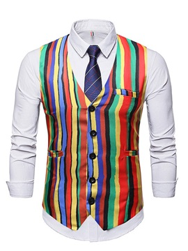 Color Block Stripe Single-Breasted Men's Waistcoat