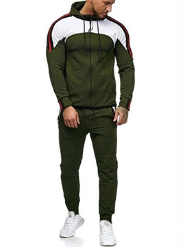 Color Block Hoodie Pants Men's Sports Outfit