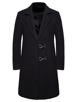 Plain Long Notched Lapel Winter Men's Coat