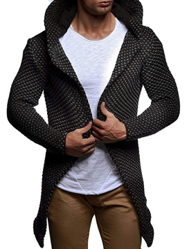 Mid-Length Plain Hooded Wrapped Men's Sweater