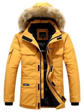 Mid-Length Patchwork Hooded Color Block Casual Men's Down Jacket