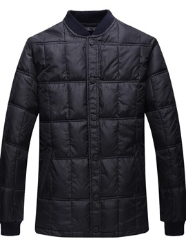 Standard Plaid Button Stand Collar Casual Men's Down Jacket