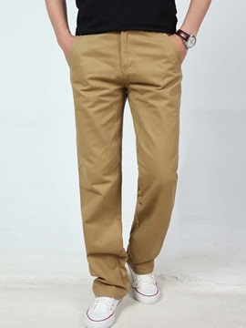 Pocket Straight Plain Men's Casual Pants