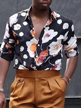 Casual Print Floral Lapel Single-Breasted Men's Shirt