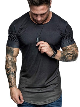 Casual Round Neck Gradient Short Sleeve Men's T-shirt