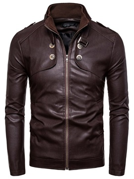 Plain Stand Collar Standard Fall Men's Leather Jacket