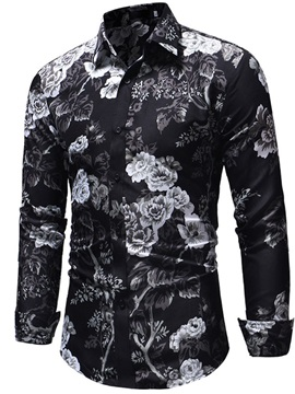 Floral Casual Print Lapel Single-Breasted Men's Shirt