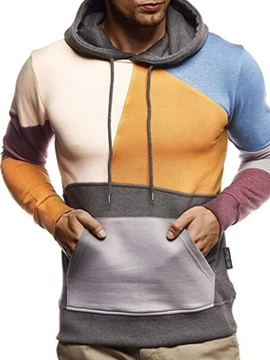 Color Block Pullover Patchwork Slim Men's Hoodies