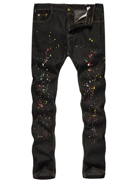 Paint Splatters Color Block Straight Zipper Men's Jeans