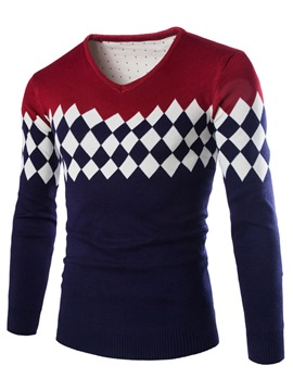 Men's Argyle V-Neck Color Block Long Sleeve Sweater