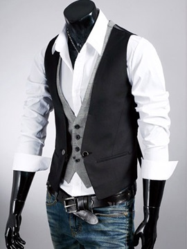 Men's Buttons Patchwork Double-Layer Vests