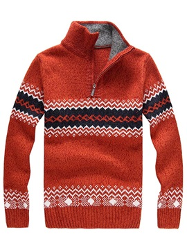 Men's Wave Decorated Jacquard Half Zipper Pullover Sweaters