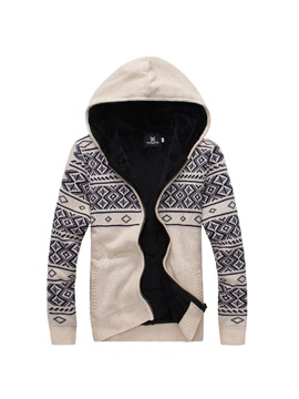 Rhombus Printed Hood Men's Zipper Up Cardigan Knitwear