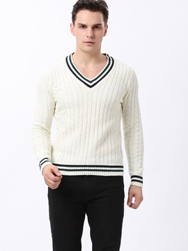 Men's Hemp Flowers V-Neck Jacquard Pullover Sweater