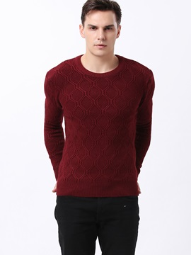 Slim Fit Argyle Design Men's Crew Neck Sweater