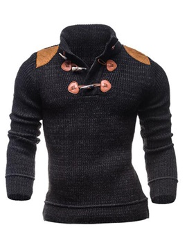 Horm Button Decorated Stand Collar Men's Pullover Sweater