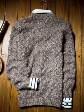 Crew Neck Solid Color Twisting Men's Mohair Sweater
