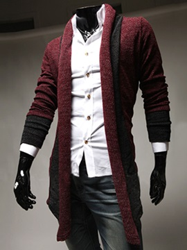 Contrast Color Slim Fit Men's Cardigan Knit Wear