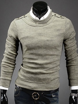 Shoulder Epaulet Design Crewneck Men's Pullover Sweater