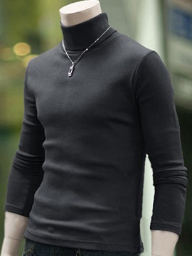 Solid Color High Collar Slim Fit Men's Pullover Sweater