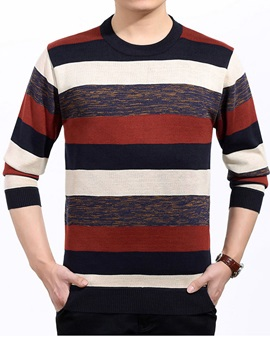 Color Block Stripe Crew Neck Men's Pullover Sweater