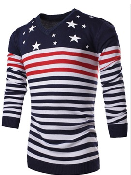 Color Block Stripe Decorated V-Neck Men's Pullover Sweater