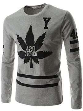 Crewneck Maple Leaf Printed Men's Pullover Sweater