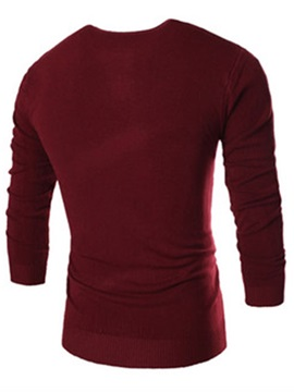 V-Neck Solid Color Men's Sweater with Chest Decorated