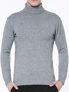 Solid Color High Collar Slim Fit Men's Sweater