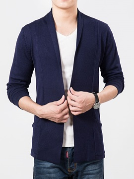 Solid Color Slim Fit Men's Cardigan Knit Wear