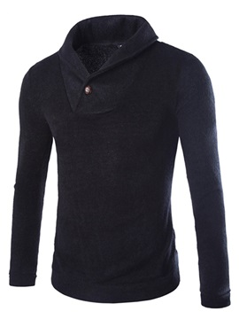 Lapel Solid Color Woolen Blend Men's Pullover Knitwear