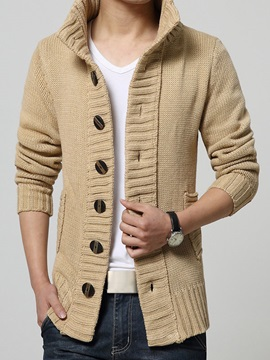 Stand Collar Single-Breasted Men's Cardigan Sweater