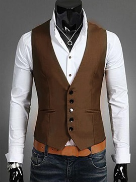 Plain Single-breasted Men's Vest