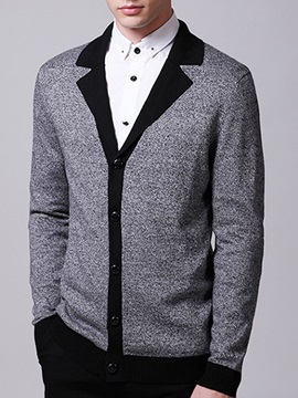 Single-Breasted Lapel Men's Color Block Sweater
