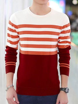 Striped Color Printed Round Neck Men's Sweater
