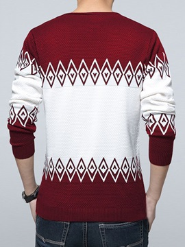 Round Neck Contrast Color Long Sleeve Men's Sweater