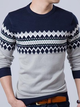 Contrast Color Patchwork Pattern Men's Sweater