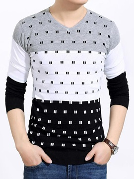Mini-Plaid Printed V-Neck Long Sleeve Men's Sweater