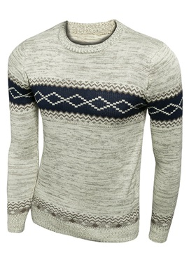 Contrast Color Round Neck Men's Casual Sweater