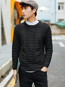 Solid Color Round Neck Men's Casual Sweater