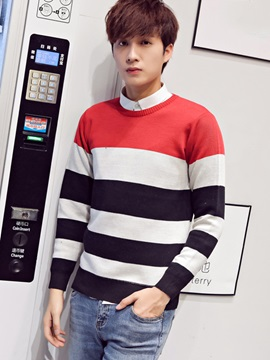 Color Block Round Neck Men's Casual Sweater