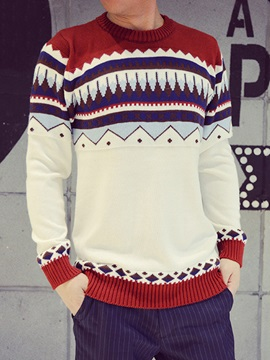 Vogue Pattern Casual Men's Color Block Sweater